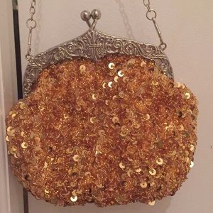 Small Gold Sequin and Bead Evening Bag